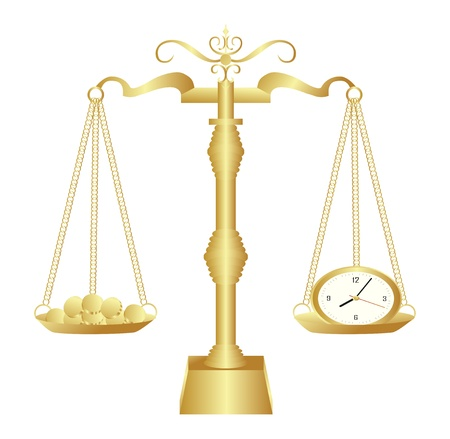 Gold time scales concept background illustration Vector