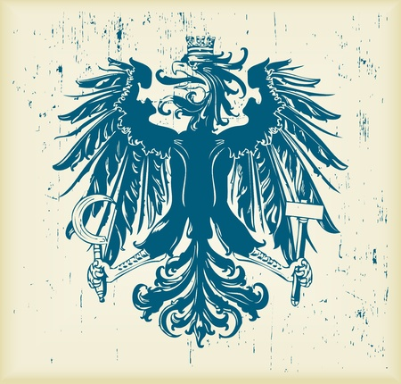 Vintage heraldic eagle background illustration Vector