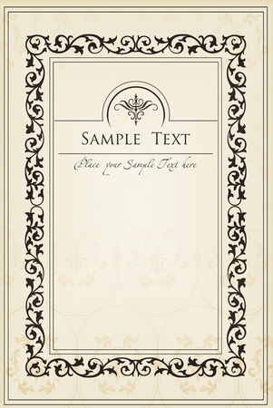 wine label design: Vintage frames and elements background illustration Illustration