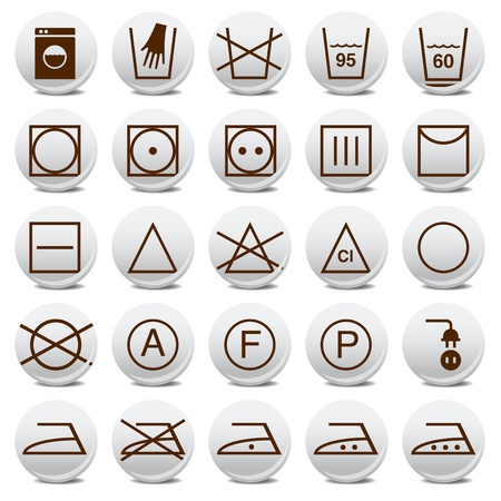 laundry care symbol: Animated washing signs icon collection
