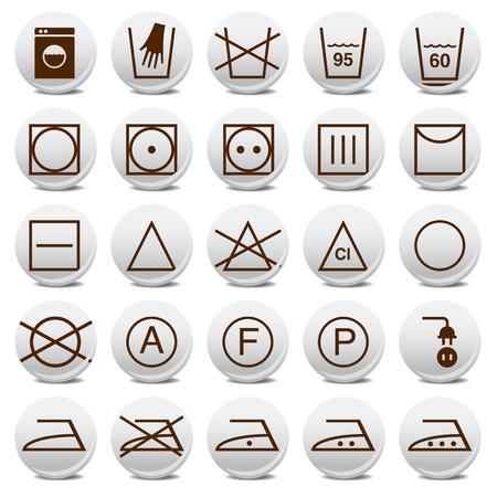 textile care: Colecci�n de iconos de signos de lavado de animaci�n Vectores