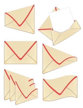 Set of vector vintage envelope Stock Vector - 10339237