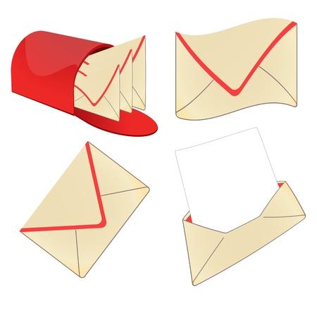 vintage envelope: Conjunto de envolvente vintage vector