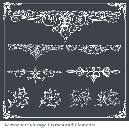 Vintage frames and elements illustration collection Vector