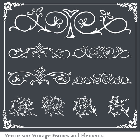 Vintage frames and elements illustration collection Stock Vector - 10339164