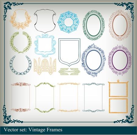 Vintage royal floral frames and elements background illustration Vector