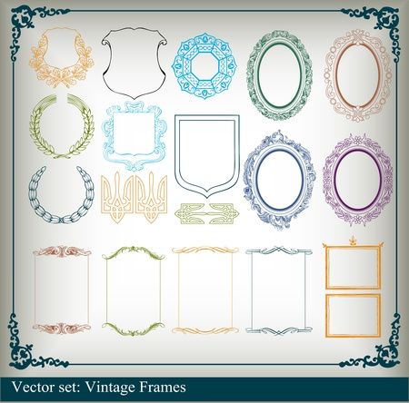 rococo: Vintage royal floral frames and elements background illustration