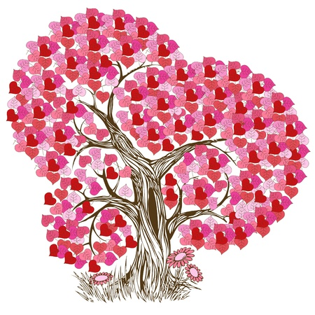 wishes: Beautiful and romantic pink tree illustration Illustration