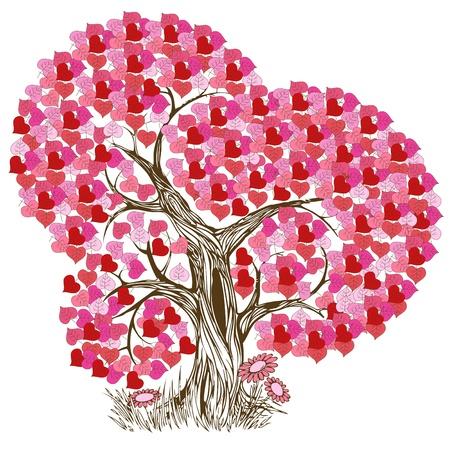 arbol de pascua: Ilustración de árbol Rosa bella y romántica