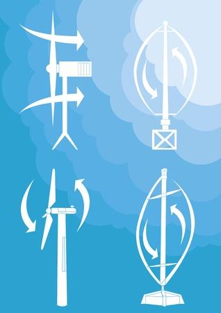 power supply unit: Wind turbines background illustration