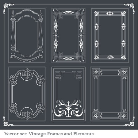rococo: Vintage royal floral frames collection illustration