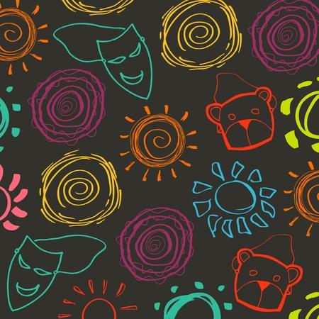 Cute children garden carnival background illustration Vector