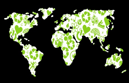 Green ecology earth map made of icons illustrations Stock Vector - 10339307