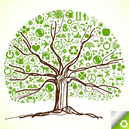 energy conservation: Animated ecology tree made of ecological icons