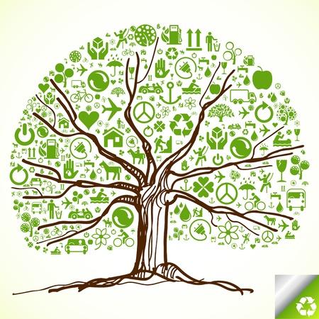 reciclaje de papel: Árbol de Ecología animado de iconos ecológicos Vectores