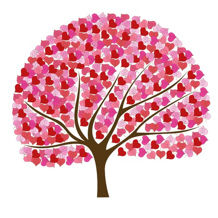 Beautiful and romantic pink tree illustration Çizim