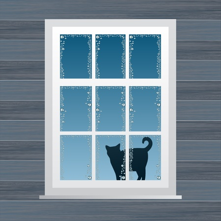 cat open: Animated country house window vector illustration