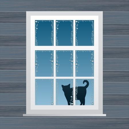 Animato country house finestra illustrazione vettoriale