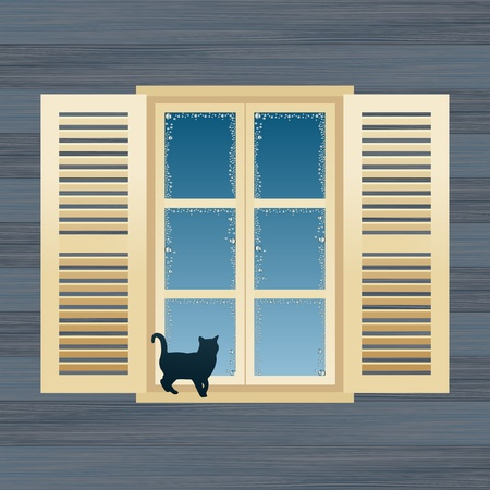 window curtains: Animated country house window vector illustration