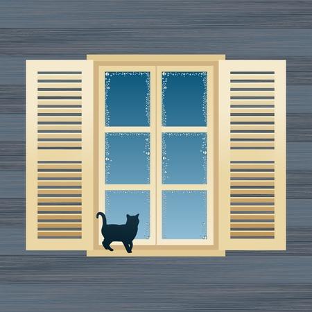 ventana abierta: País casa ventana vector Ilustración animada Vectores