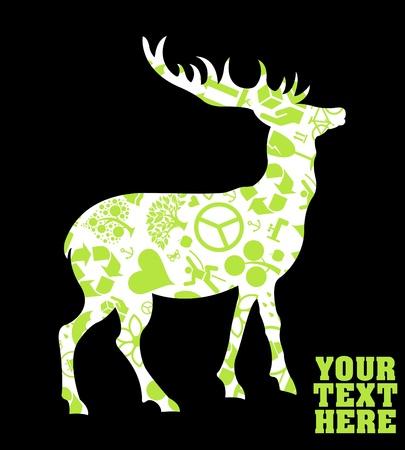 allegory: Rain deer ecology concept background illustration