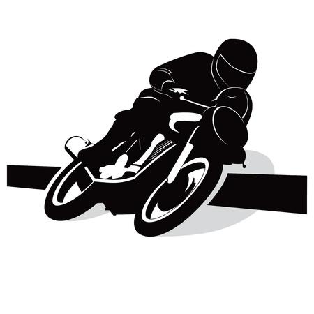 motor race: Straat motorfiets vector achtergrond met chauffeur begrip Stock Illustratie