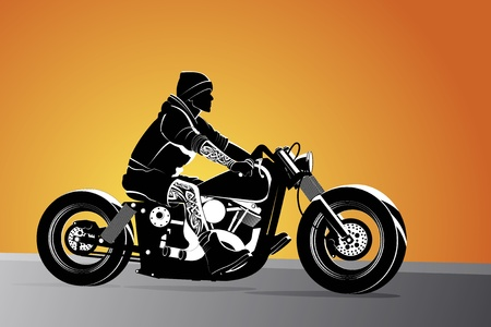 motorbike jumping: Chopper motorcycle vector background with driver