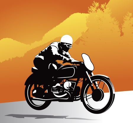 rally: Motorcycle vector background with vintage driver