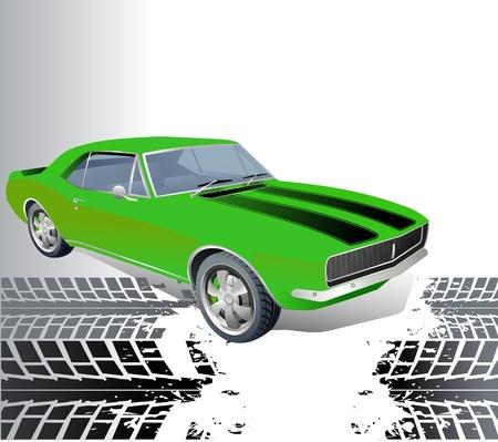 course de voiture: Am�ricaine vecteur de fond musculaire voiture