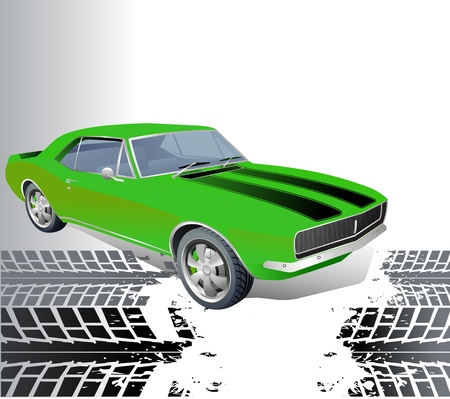 muscle car: American muscle car vector background Illustration