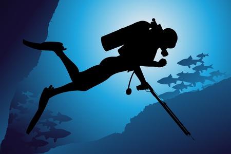 Scuba diving vector background Stock Vector - 10339349