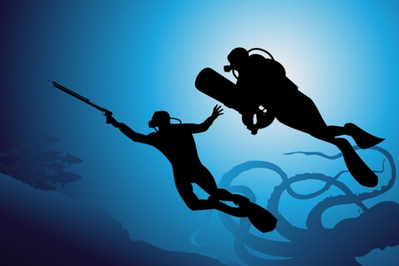 Plongée sous-marine de fond vectoriel