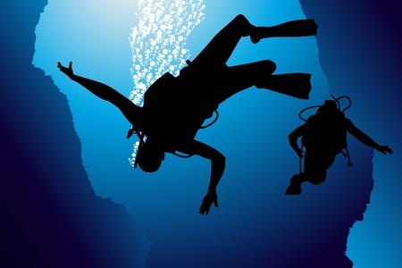 scuba: Scuba diving vector background