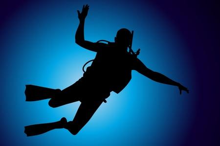 Scuba diving vector background Stock Vector - 10339322