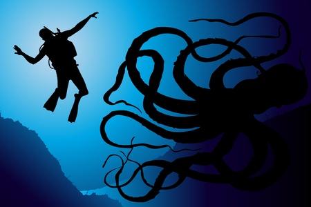 deep sea diver: Scuba diving vector background