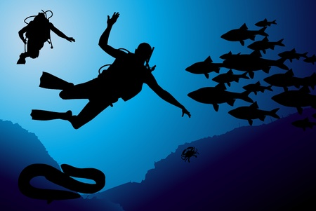 Scuba diving vector background Stock Vector - 10339333