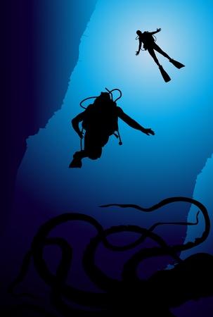 Scuba diving vector background Vector