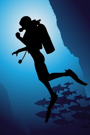 divers: Scuba diving vector background