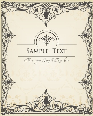 free border: Vector Vintage background for book cover or card Illustration