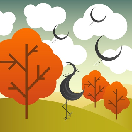 Crane autumn background Vector