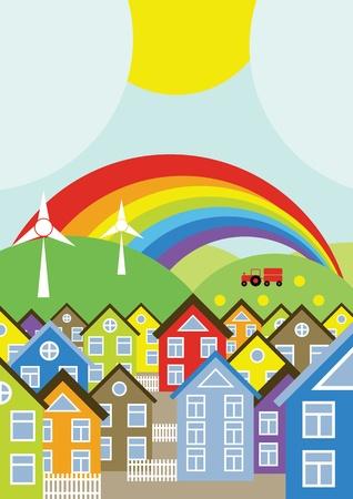 generadores: Fondo de casas con generadores e�licos y arco iris