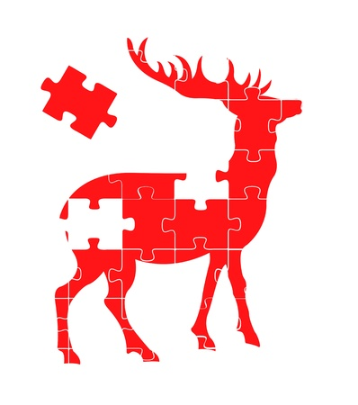 Puzzle deer background concept Vector