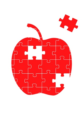 Puzzle apple background concept Vector