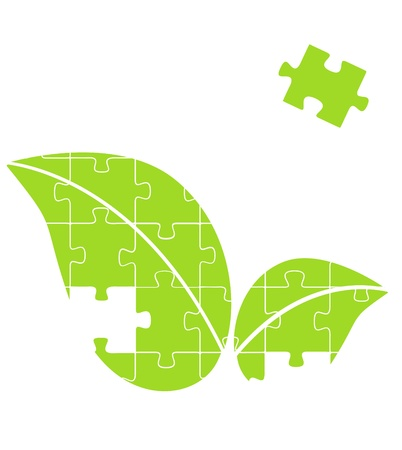 Ecology leaf puzzle concept  Illustration