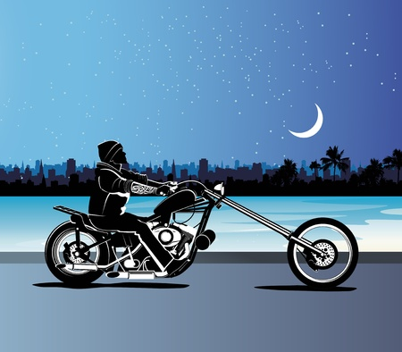 Chopper motorcycle background Vector