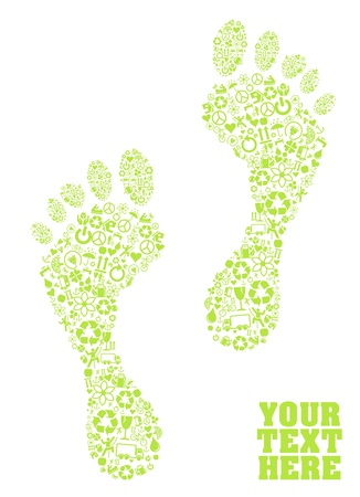 permaculture: Footprints made with ecology icons background Illustration