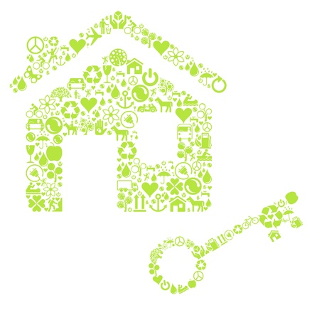 Eco house made with ecology icons background Stock Vector - 10351114