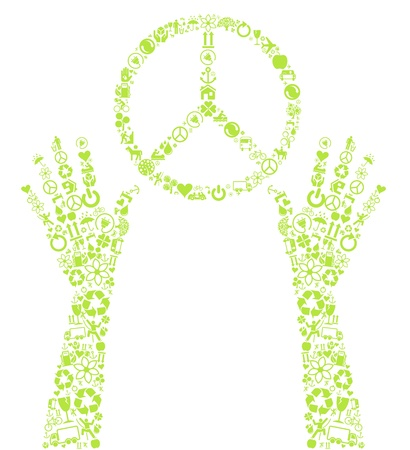 permaculture: Peace sign in hands made with ecology icons background
