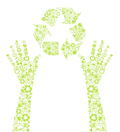 permaculture: Recycle round in hands made with ecology icons background