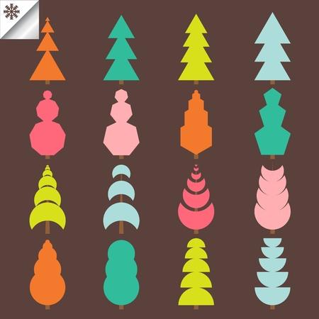 Tree set vector background Stock Vector - 10350529